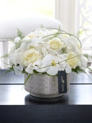 Luxury White Hydrangea, Orchid and Rose Arrangement