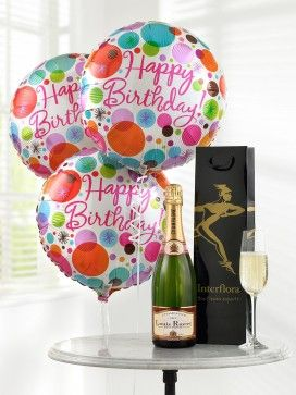 Champagne and Happy Birthday Balloons